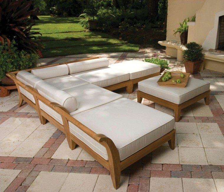 sillones jardin madera patas blanco