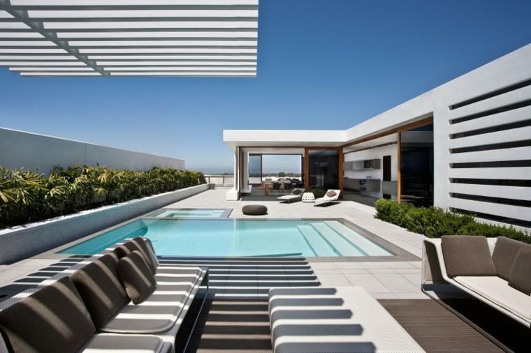 sillones modernos jardin minimalista rayas