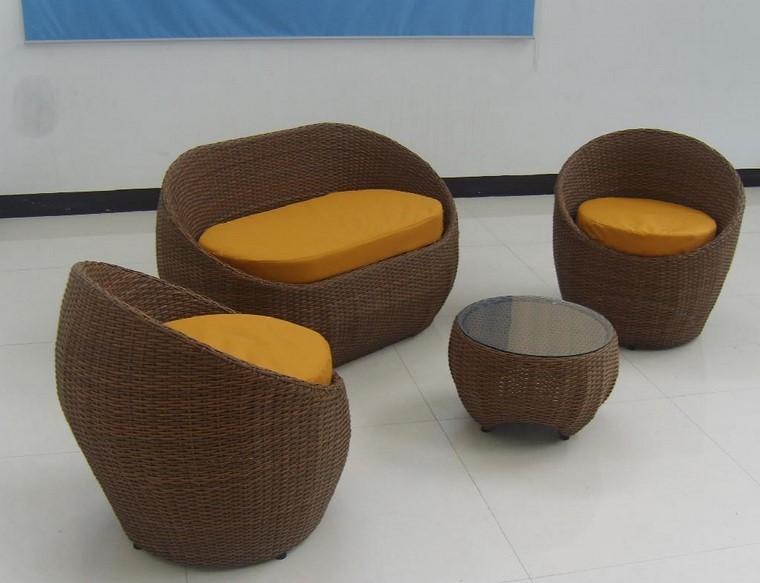 sillones rattan ideas muebles aire libre modernas amarillo