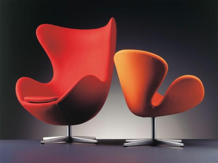 sillones giratorios rojo naranja moda