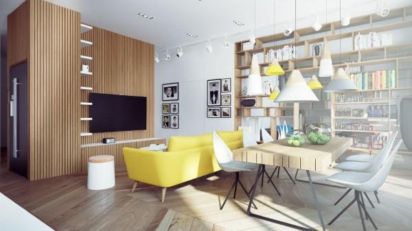 sofa amarillo comedor bohemio