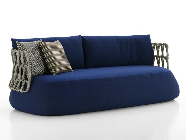sofa azul bb cojines rayas