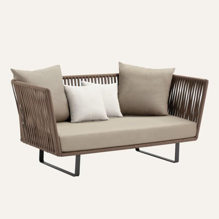 sofa bitta dos cojines cuerdas crema