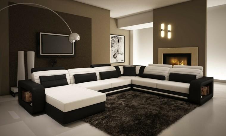 sofá grande colores negro blanco