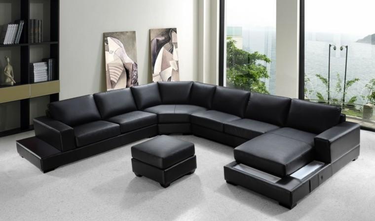 sofá largo piel negra