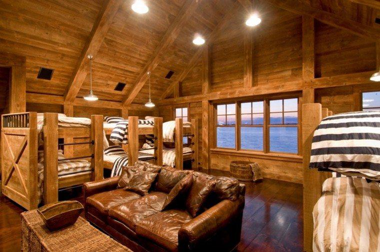 sofa piel cabaña madera literas