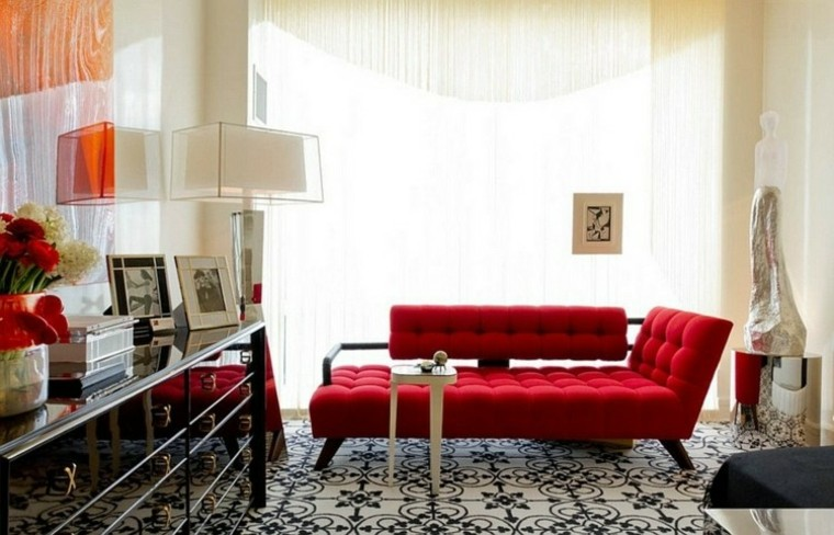sofa rojo tendencias decoracion cortinas