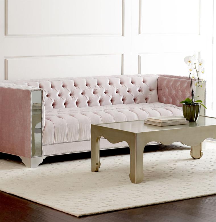 sofa rosa muebles espejo patas