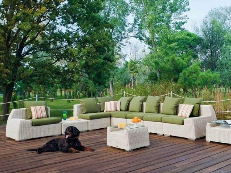sofas atmosfera perro cojines verdes
