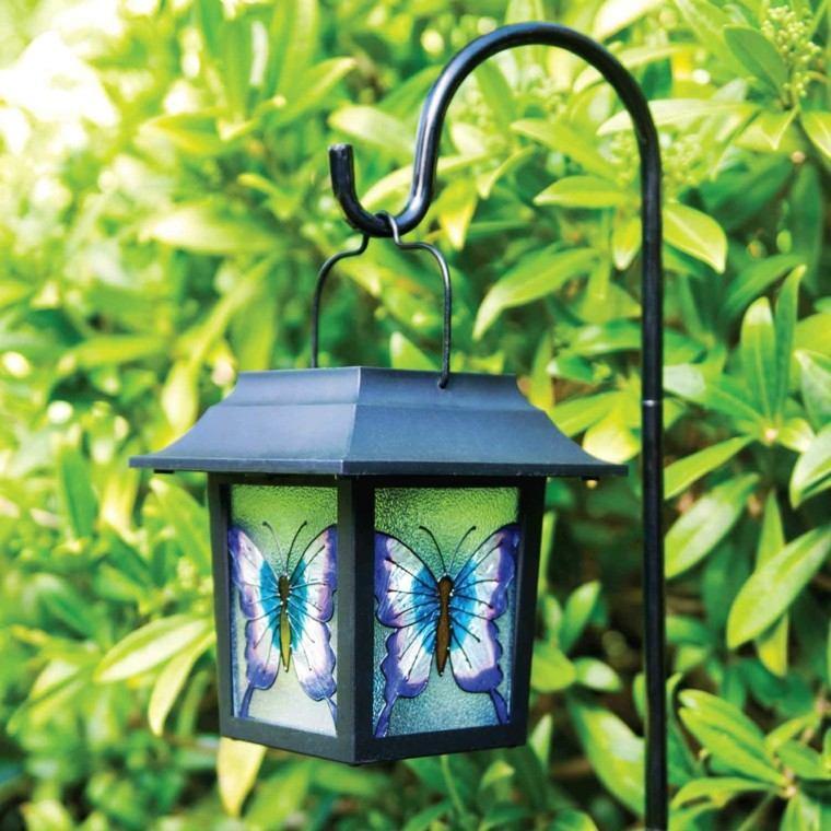 solar linterna colgante diseño mariposa