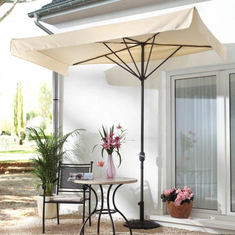 sombrilla blanca protege mesa cafe encimera marmol ideas