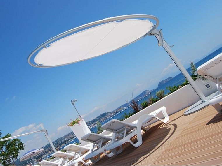 sombrilla blanca eclipse redonda jardin