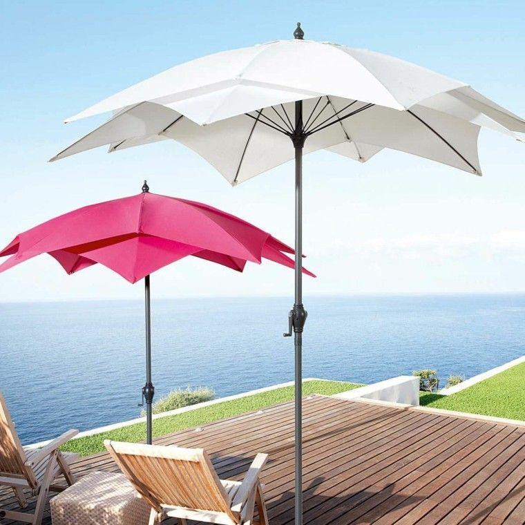 sombrilla foema original ideas modernas rosa blanco jardin