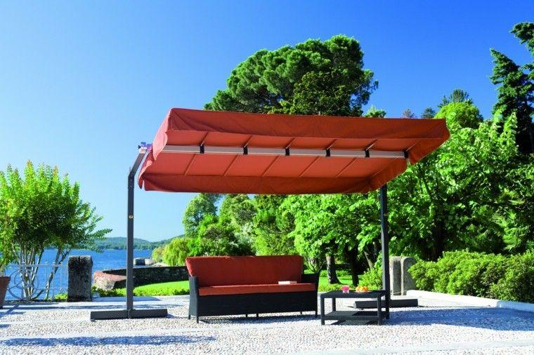 sombrilla grande naranja jardin grande ideas modernas bonita