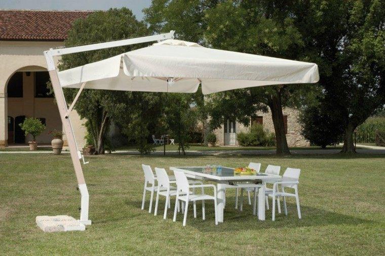 sombrilla jardin blanca grande bonita ideas cesped