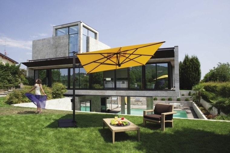 sombrilla jardin cesped amarilla rectangular moderna