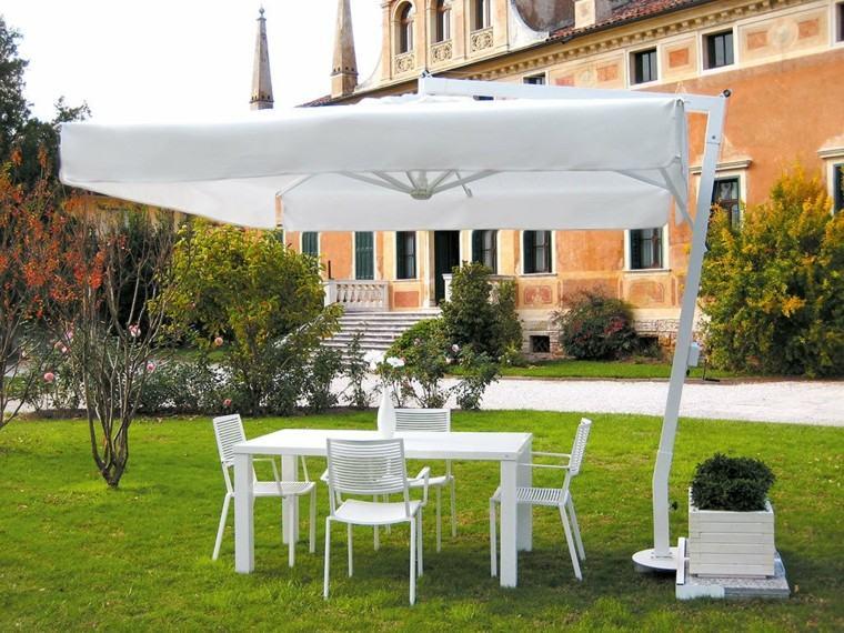 sombrilla jardin muebles blancos ideas originales modernas