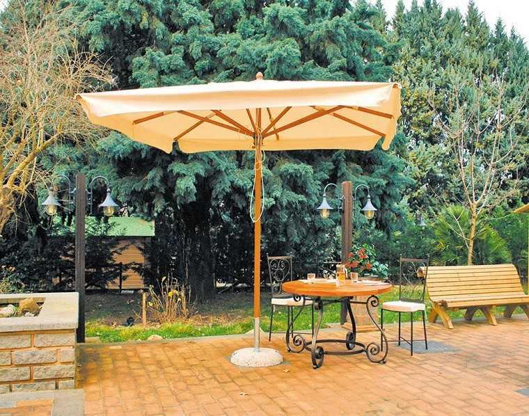 sombrilla mesa sillas acero ideas modernas