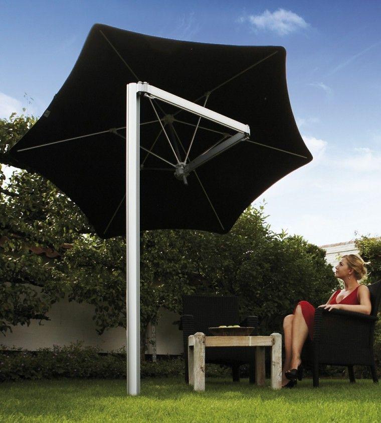 sombrilla negra ideas jardin estilo moderno ideas