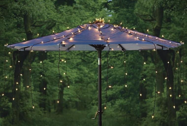 sombrilla parasol luces navidad colgando