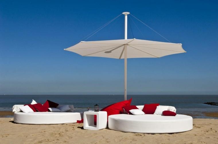 sombrilla plana blanca sofas redondos