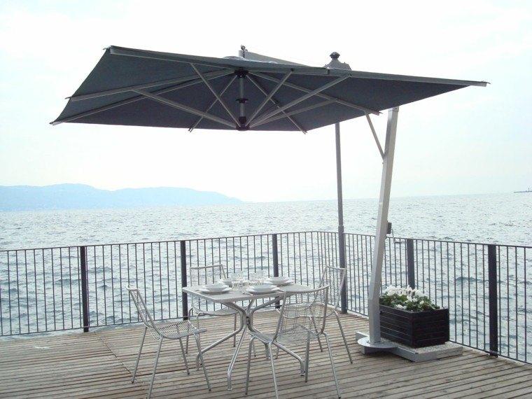 sombrilla gris terraza muebles acero resistentes