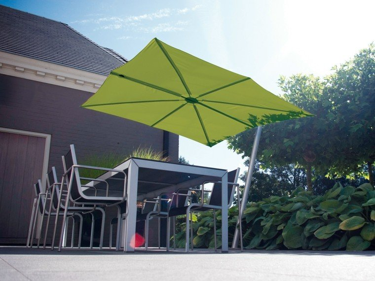 sombrilla verde mesa grande comer ideas modernas