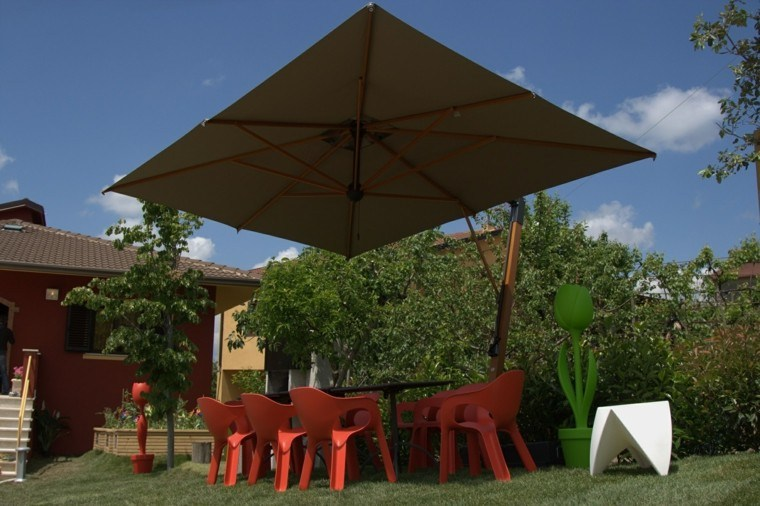 sombrillas jardin muebles plastico naranja ideas