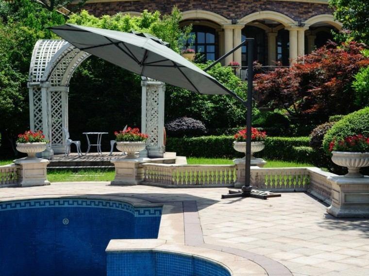sombrillas jardín pie aluminio forma circular ideas piscina