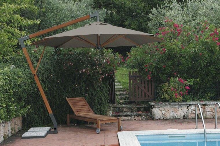 sombrillas jardín protege piscina tumbona ideas madera