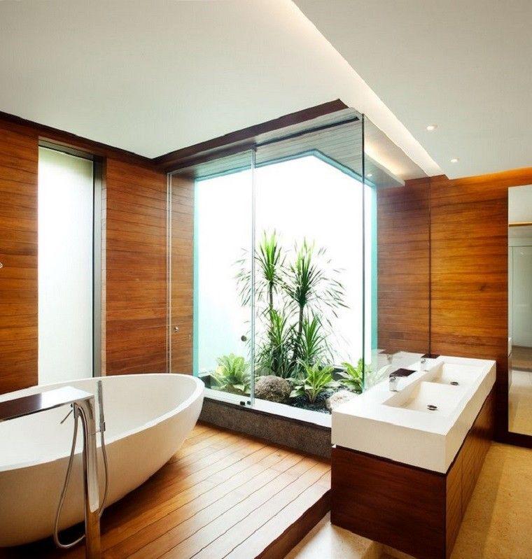suelo bañera plantas lavabo rocas