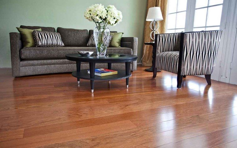 suelos de madera brillante salon ideas modernas