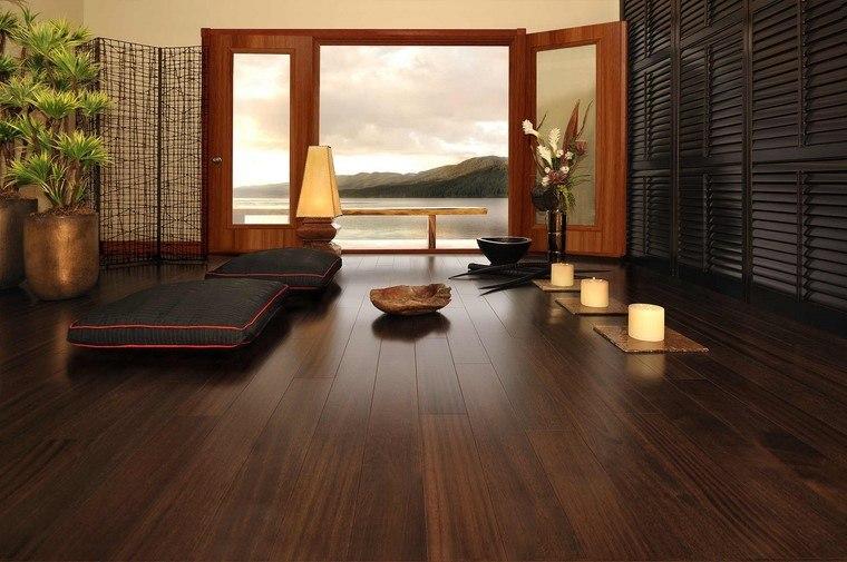 suelos de madera color marron oscuro moderno romantico