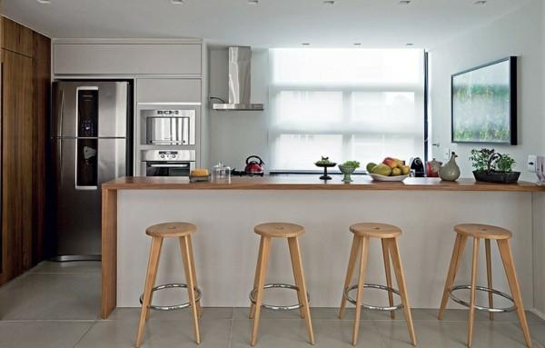 taburetes altos madera cocina moderna