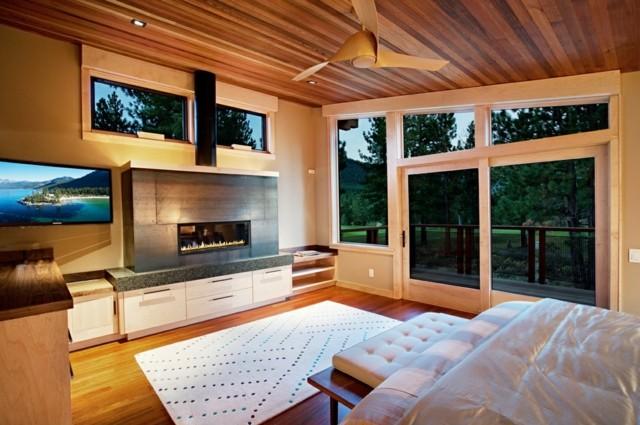 techo de madera dormitorio ventanal diseño bonito