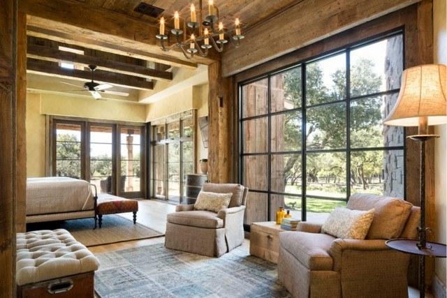 techo de madera ventanal salon estilo rustico genial