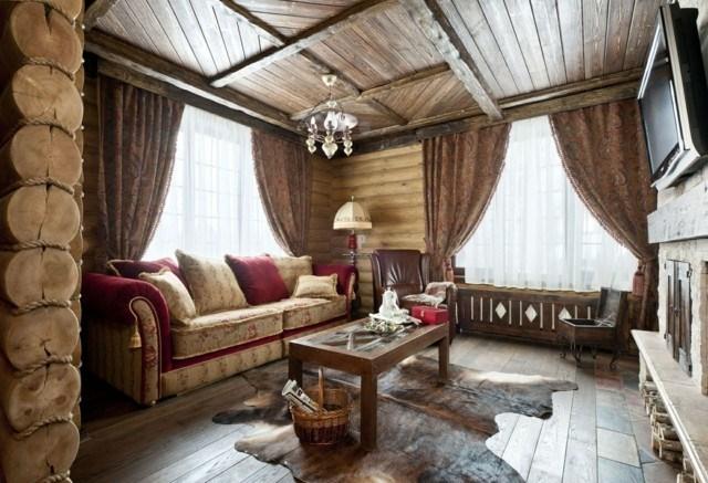techo de madera salon diseño rustico ideas campo