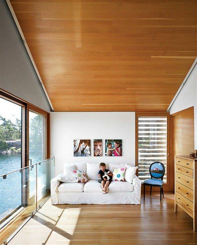 Techo de madera atractivo clasico en tu hogar for Laminas salon decoracion