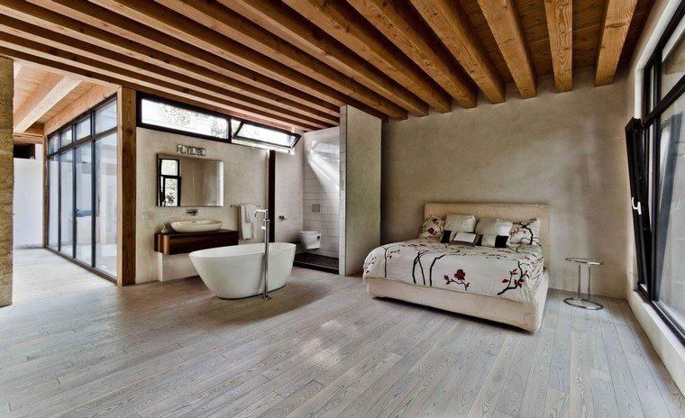 techo madera cama bañera moderno