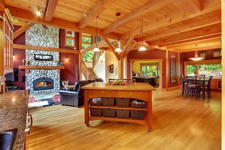 techo madera chimenea diseño bonito luminoso idea
