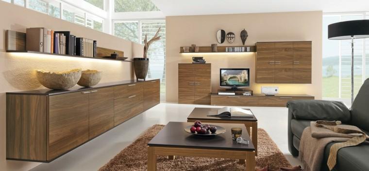 tecnologia moderna armarios madera estanterias iluminadas