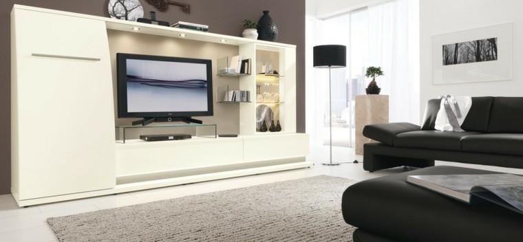 tecnología salon muebles blanco negro estilo grande