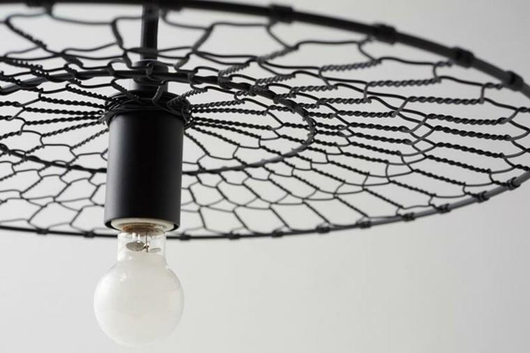 telaraña negra redonda metal lampara