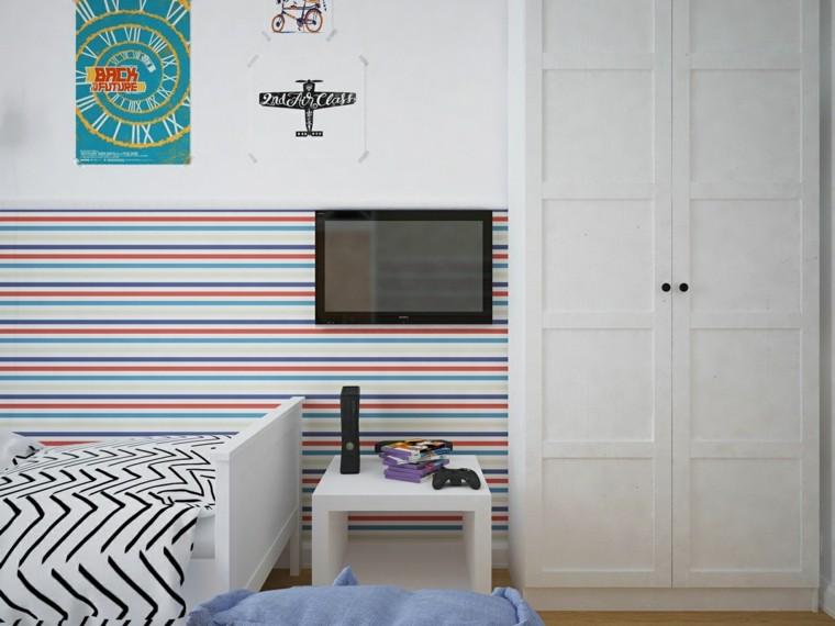 tele mueble blanco pared rayas decoracion
