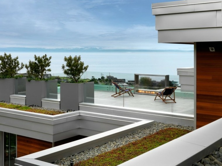terraza amplia macetas grandes tumbonas ideas modernas