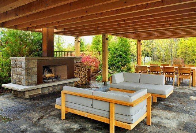 terraza estilo contemporaneo dos areas moderna chimenea