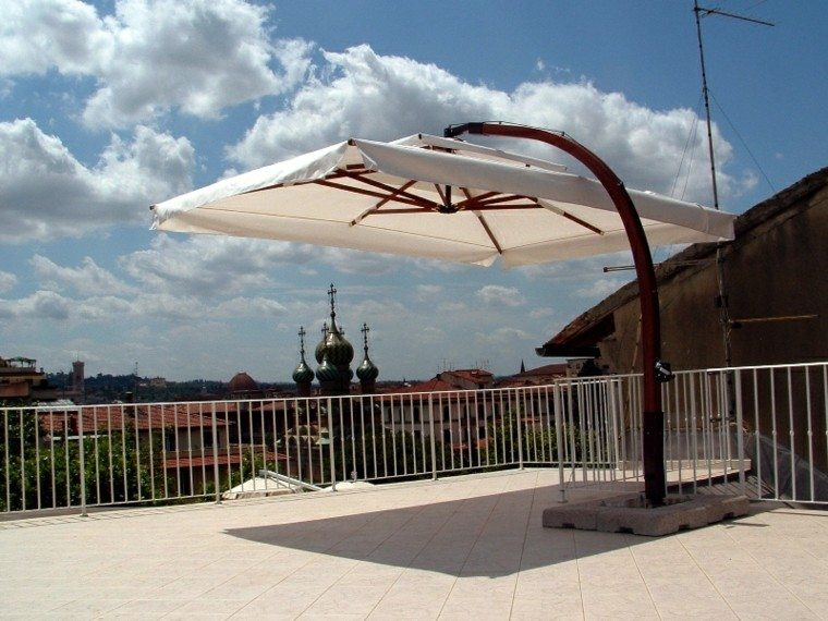 terraza patio sombrilla velador