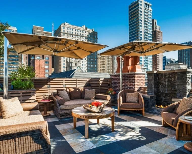 terraza grande urbana sombrilla pie ideas acero muebles diseno