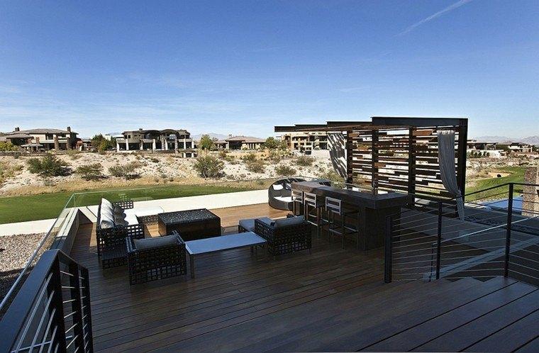 terraza madera teca color oscuro