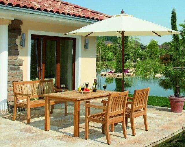 terraza moderna ideas teca sillas mesa sombrilla